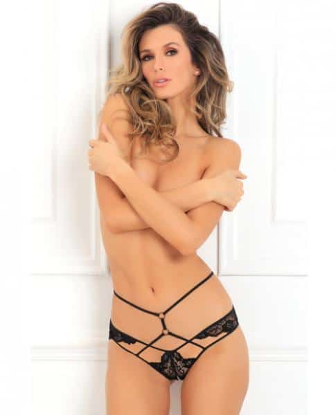 Rene Rofe Own It Crotchless Panty Black S/M
